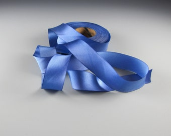 "1"" PERIWINKLE WEDDING RIBBON Hanah Silk Satin    Jewel Tones 3 yd length"