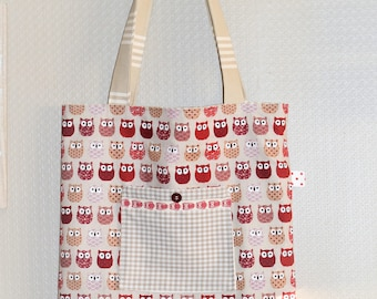 tote bag red owls Made in France
