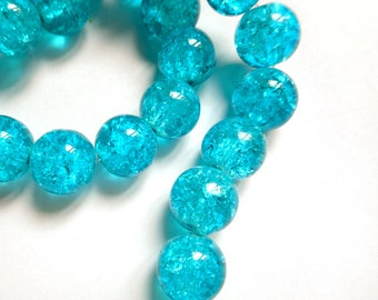 50 Turquoise Crackle Glass Beads - 29-9