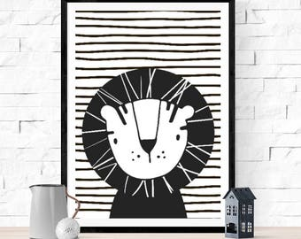Happy Cute Lion Print | Jungle Animal | Black & White | Modern Mono Style | Nursery Wall Art | Children's Room Decor Picture Poster