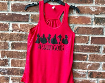 Squad Goals, Princess Squad Goals, Princess Squad, Disney Tank, Disney Family Shirts, Run Disney, Disney Princesses, Disney Squad Goals