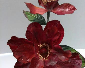 Magnolia flower decoration. Silk flower floral arrangements