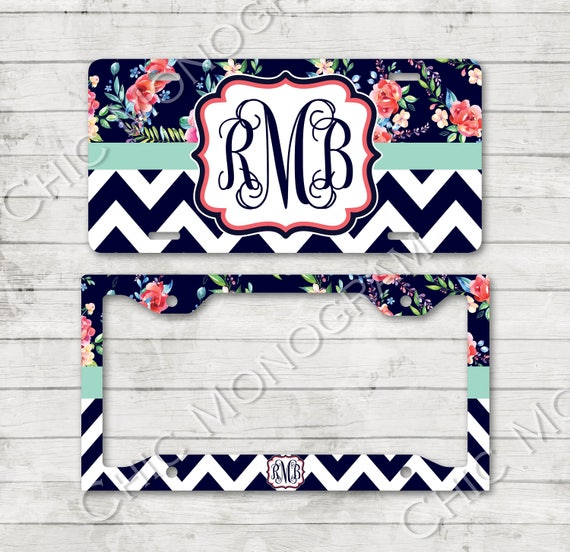 Monogramed License Plate & License Plate Frame Floral Chevron with Flowers Personalized Monogrammed Car Accessories Car Tag Plate Holder