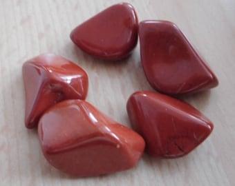 Red Jasper Tumbled Stone - 5 Crystals 17mm-22mm
