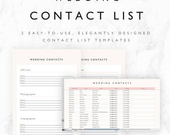 Wedding Contact List Template - Excel Spreadsheet + Printable PDF - Fully Editable XLSX File - Instant Download! - Wedding Planning Template