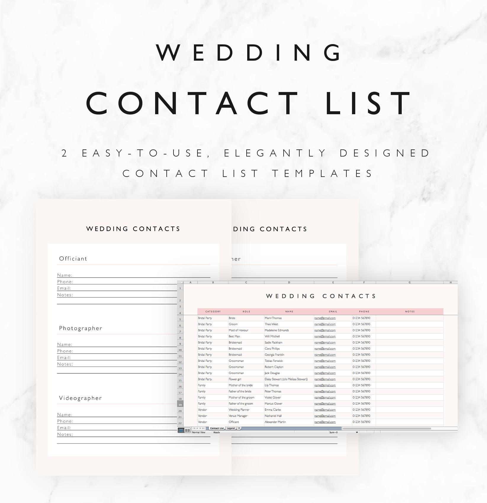 Wedding contact list template excel spreadsheet printable zoom alramifo Choice Image