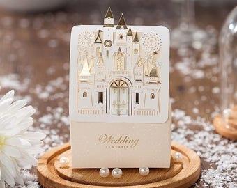 Fairytale Castle wedding candy favor boxes open doors /pkg 50 pieces/set
