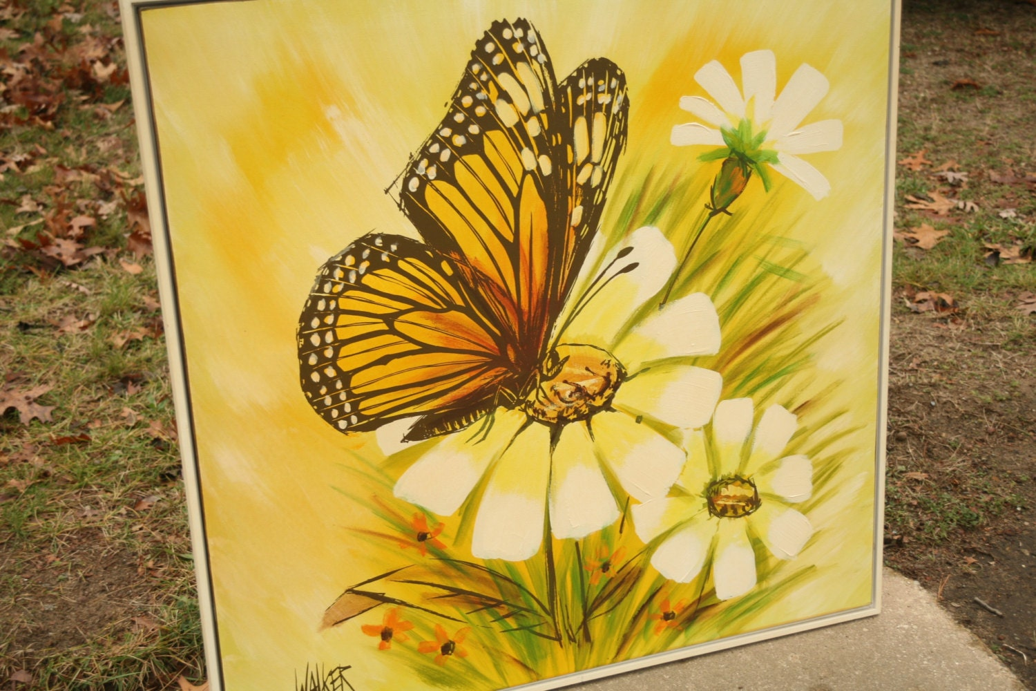 Large Retro Butterfly and Flower Painting Monarch Butterfly