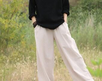 Women Linen and Cotton T-Shirt – Art Retro Buckle Sets of Linen & Cotton Wringed long-sleeved T-shirt