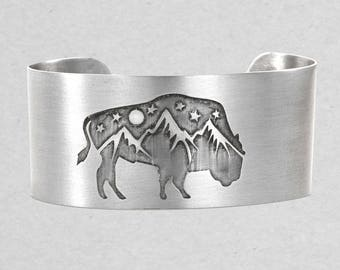 Alpine View Bison Mountain Cuff Bracelet.  Sterling silver over brass or antique brass . Hand etched and forged.