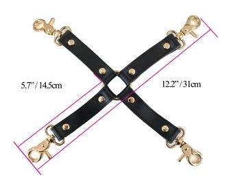 BDSM 4-way, hog-tie, Black Cow  Leather, connector for bondage cuffs, restraints,bdsm accessory, bondage restraint,bondage hogtie(mature)