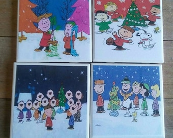 Peanuts Christmas Coasters. Charlie Brown Christmas Coasters. Snoopy Coasters. Gift Giving Idea.
