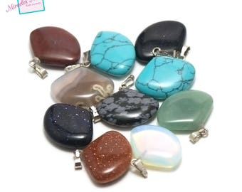 "set of 5 gemstone pendants ""range 22 x 17 x 6 mm"", assortment of different stones"