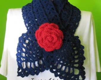 Marine blue scarf with a rose (red)