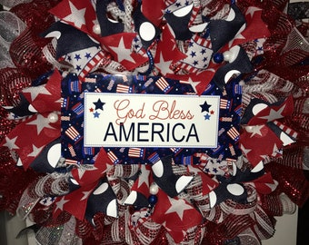 July 4th Wreath, God Bless America Wreath, Stars and Stripes Deco Mesh Wreath, Red White Blue Wreath