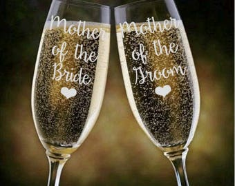 Mother of the Bride / Groom Champagne Glass, Champange Flutes, Bridesmaid Box Idea, Mother of the Bride Gift, Mother of the Groom Gift