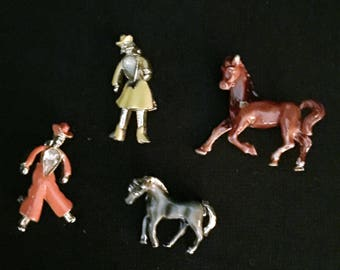 Cowboy, Cowgirl, and Horse pin set
