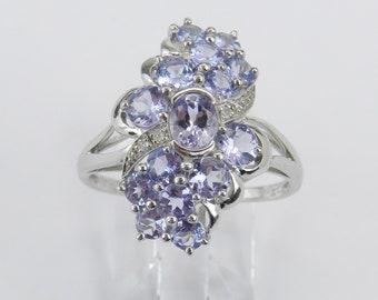 Tanzanite and Diamond Cluster Cocktail Ring Purple Lavender White Gold Size 8.25