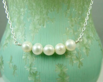 Pearl and Silver Necklace / Bride Necklace / Purity and Wisdom Necklace / Bridal Necklace / Wiccan Wedding / Pearl Bar Necklace