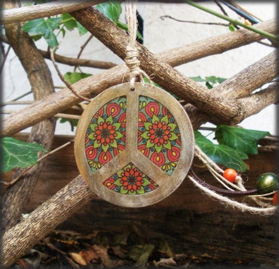 PEACE / Lucky Charm / Good Luck Charm / Mandala Decorated / Totally Handmade