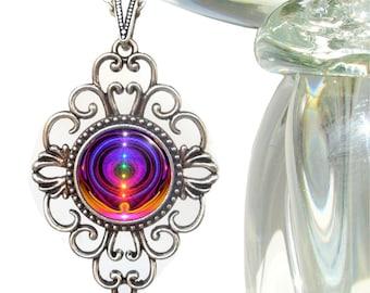 "Rainbow Chakra Necklace, Reiki Energy Art ""Chakra Alignment"""