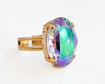 Purple Crystal Oval Ring - crystal ring - statement ring - Swarovski crystal - rainbow crystal