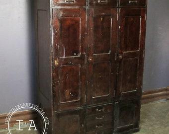 Vintage Industrial 3 Door Wooden Storage Locker Bank
