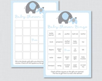 Elephant Baby Shower Bingo Cards - Prefilled Bingo Cards AND Blank Cards - Digital Instant Download - Blue Elephant Baby Shower - 0024-B