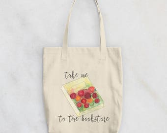 Book Tote Bag - Book Gifts for Her - Gift for Booklover - Reuseable Grocery Bag - Cotton Tote Bag - Booklover Gift - Gift for Teacher
