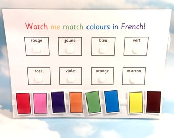 French colours learning sheet, KS1, Teaching resource, Educational toy, Homework, Visual learners, French lesson,