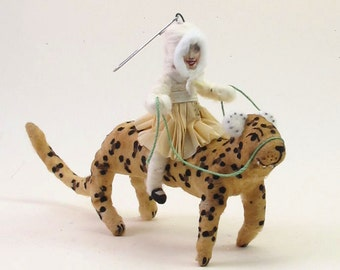 Vintage Inspired Spun Cotton Leopard Rider Figure/Ornament (MADE TO ORDER)