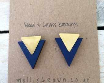 Geometric Earrings/Triangle earrings/Geometric Jewellery/Triangle Jewellery/ Stud Earrings/ Gifts for her/valentines gift/gift ideas/blue