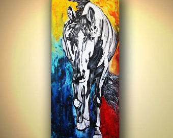 Horse Print, Horse Illustration Wall Art, Stallion Painting, Horse Painting, Horse Watercolour Wall Hanging, Colors Horse by Kathleen Artist