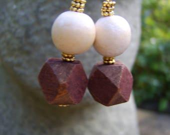 Rustic Wooden Bead Earrings. Beaded Earrings. Wooden Earrings. Boho Earrings. Festival Earrings. Chunky Earrings. Lightweight Earrings.