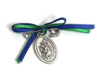 Saint Medal Saint Christopher Protection Medal  Protect Us Italy Religious Italian Charms Catholic Gift