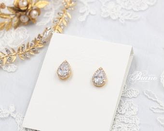 Cubic Zirconia Wedding Earrings, Stud Swarovski Bridal Earrings, Crystal Teardrop Earrings, CZ Drop Earrings, Bridesmaids Jewelry- KAMILA