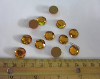 12 vintage cabochons 11mm in TOPAZ gold foil  FLATBACKS, A 258, Germany,   a great price