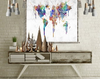 world map tapestry wall hanging etsy