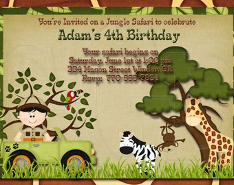 Jungle animal invite, Safari birthday party,  Zoo Birthday Invitation, zoo animal theme, safari party, safari birthday party -Digital File
