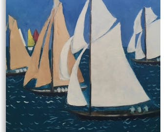 Canvas Print Wall Art Taken From The Original Oil Painting 'Les Yacht Classiques II' By Sally Anne Wake Jones