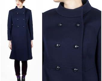 Vintage 1970s Dark Navy Blue Wool A-Line Double Breasted Pea Coat with High Collar by del mod International   Small/Medium