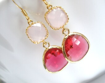 Glass Earrings, Pink Earrings, Gold Fuschia Earrings, Soft Pink, Fuchsia, Bridesmaid Earrings, Bridal Earrings Jewelry, Bridesmaid Gifts