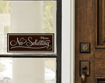 No Soliciting Sign Front Door Sign No Solicitation Sign No Soliciting Door Sign No Soliciting Decal No Soliciting Sticker Vinyl Lettering