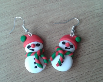 Christmas earrings snowman with red hat handmade fimo earrings, polymer clay