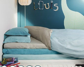 Blue and Grey Cotton Waterproof Duvet Cover, Anti Dustmite Duvet, Soundless, Baby Bedroom, Childrens Bedroom, Bedwetting Cover, Enuresis