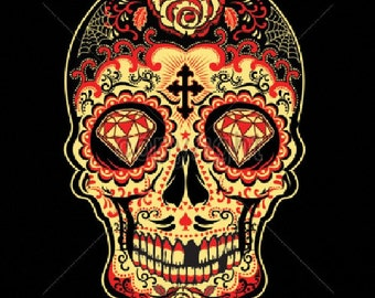 Sugar Skull Red Day of the Dead WOMENS Short Sleeve T Shirt 17343