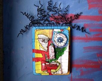 Crazy art sculpture, Art Assemblage, Wall Ceramic mask, Abstract face, Wire art sculpture, Wall art sculpture, 3D sculpture by 99heads