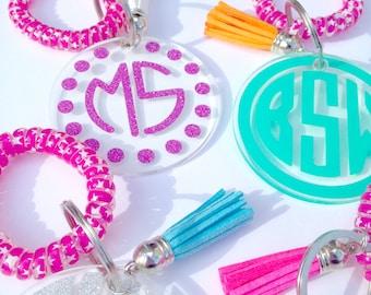 Monogram Keychain, Initial keychains, Gift for her, Birthday gift, Acrylic keychain, Bag Tag, Spiral keychain wristlet, tassel keychain