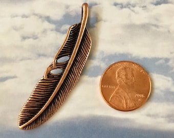 Feather Pendant Antiqued Copper Pewter Curved