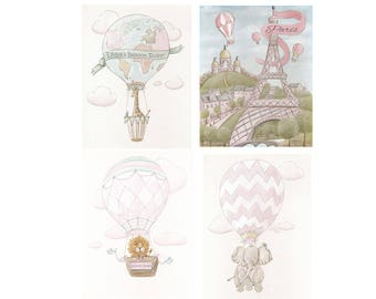 Paris Wall Art For Girls Room, Personalize Eiffel Tower & Giraffe Print, Pink Travel Nursery Decor, Set Of 4 Hot Air Balloon Prints, 6 Sizes